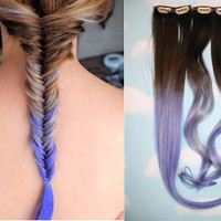 Handmade Ombre Dip Dyed Hair Extensions, Tye Dye Tips, 20-22 inches long, Clip In Hair Extensions, Hippie Hair, Pastel Festival Hair