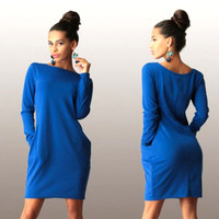 Blue Long Sleeve Side Pocket Casual Dress