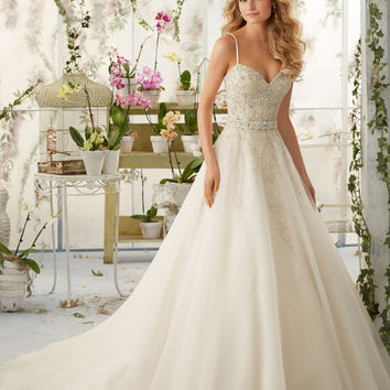 Crystal Beaded Embroidery on Organza Morilee Bridal Wedding Dress with Shoestring Straps   Style 2824   Morilee