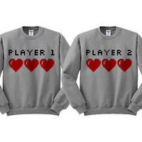 Grey Crewneck - Player 1 Player 2 Couples Shirts - Valentine's Day Sweater