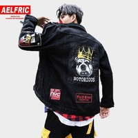 AELFRIC Men Funny Dog Print Denim Jackets Male 2018 Winter Hip Hop Punk Style Casual Fashion Jeans Jacket Coats Streetwear KJ115
