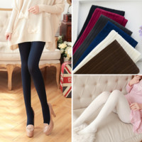 W740 140D Trend Knitting High elastic tights Women's velet pantyhose fashion casual vertical stripes tights 5 Colors