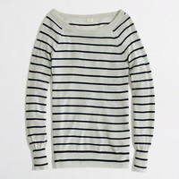 Factory stripe summerweight cashmere boatneck sweater