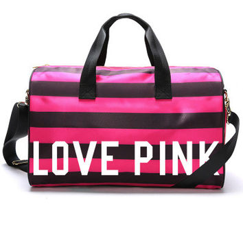 """"""" Pink """" Printed High Quality Durable Victoria's Secret Like Sport Exercise Carry on Yoga Gym Travel Luggage Bag  _ 10038"""