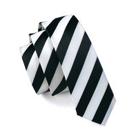 Men Ties Silk Skinny Ties For Men Slim Tie Stripe White Necktie