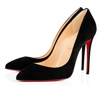 Christian Louboutin CL Pigalle Follies Black Suede 100mm Stiletto Heel 14w Online