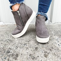 Camden Grey Wedge Sneakers