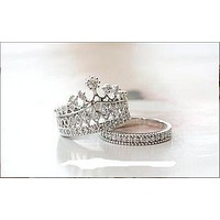 New fashion queen simple king queen ring sweet diamond crown shape ring