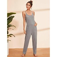 Pocket Front Cami Jumpsuit