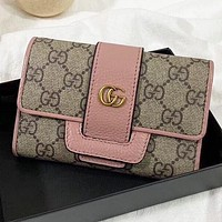 GUCCI  New fashion more letter leather wallet purse women handbag Pink