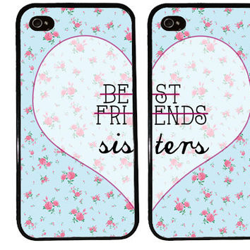BFF Case / SISTERS Floral Pattern iPhone 4 Case Best Friends iPhone 5 Case iPhone 4S Case iPhone 5S Case One 4 Your BFF Set Phone Case Gift