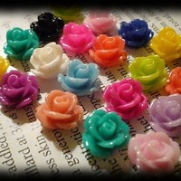 Sale 24 Beautiful Flower Cabochons 10mm Assorted Colors