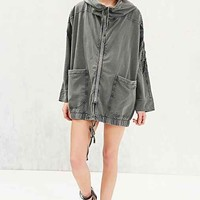 Staring At Stars Embroidered Sleeve Hooded Jacket- Green