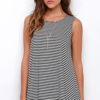 Olivia Ivory and Black Striped Swing Dress