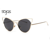 SOJOS Luxury Brand Cat Eye Metal Hollow Frame Sunglasses Women Party Sun Glasses Sexy Cat Eyes Glasses Fashion Designer 1041