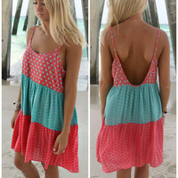 Fort Lauderdale Mint And Coral Print Color Block Sundress