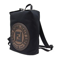 Fendi Unisex Black and Brown Stamp Fabric Logo Maya Bookbag Large 7VZ044
