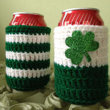 St. Patrick's Day Beer Koozie, Party Favors, Crocheted Beer or Soda Can Koozie, Ugly Sweater, Made to Order for Your Party