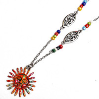 Beaded Sun Necklace Colorful Boho Bohemian Hippie Jewelry FREE SHIPPING