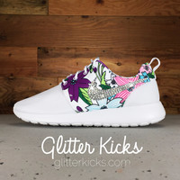 Nike Roshe One Customized by Glitter Kicks - White/Floral Print