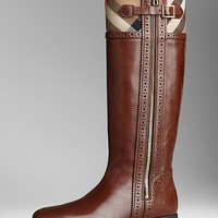 Brogue Detail House Check Riding Boots