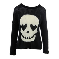 Vintage Havana Womens Knit Skull Graphic Pullover Sweater