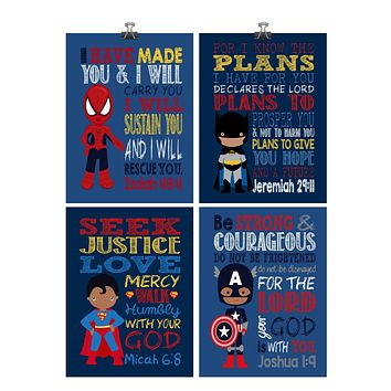 African American Superhero Christian Nursery Decor Set of 4 Prints - Batman, Captain America, Superman and Spiderman
