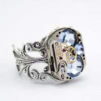 Steampunk Ring  Boldly bejeweled  with by LondonParticulars