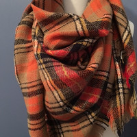 Blanket Scarf Orange/Navy