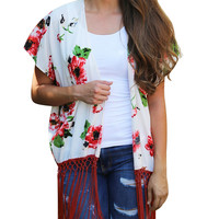 Chiffon Blouse Women Sweet Casual Floral Blouses Shawl Kimono Cardigan Tops Cover up Blouse Chemise