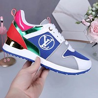 Louis Vuitton LV Sneakers PU Print Contrast Shoes monogram tail blue green pink