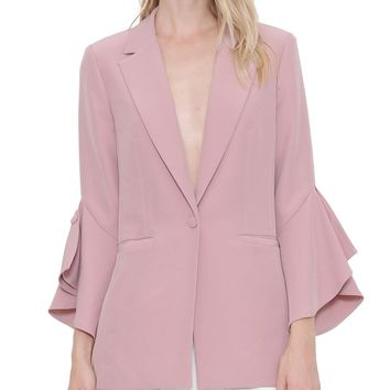Ruffle Bell Sleeve Long Length Blazer