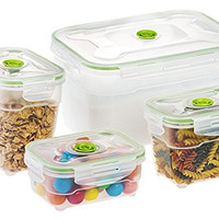Seal'In Nestable Food Storage Vacuum Containers - Set of 4 - Vacuum Sealed, Microwavable and Dishwasher Safe