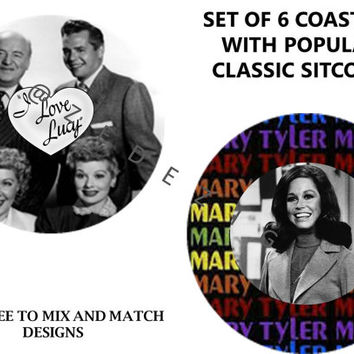 "Coaster set, Classic TV Sitcoms, Set of 6, Gift, Housewarming, Home decor, 3 1/2"", Large round Coasters, Gift Bags, Party Favors, Comedy"