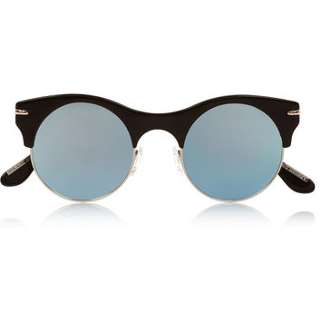 Roland Mouret - Max Mirror round-frame metal and acetate sunglasses