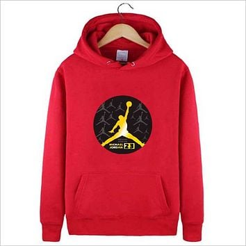 Jordan autumn and winter new trend basketball hooded sweater  Red