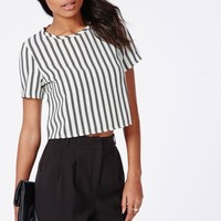 Missguided - Monochrome Vertical Striped Shell Top