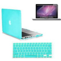 SmackTom(TM) 3 in 1 Macbook Pro® 13-inch A1278 Accessory Kit: Rubberized Ocean Green Hard Case + Protective Keyboard Cover + Anti-Glare Screen Protector