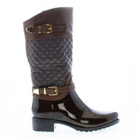 Fatima27K Brown Pu By Link, Children's Girls Mid Calf Quilted Buckled Shaft Rain Boots
