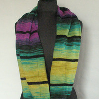 Purple Striped Infinity Scarf Cowl Wrap Yellow Green Violet
