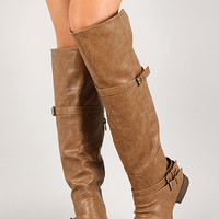 Leatherette Buckle Cuff Round Toe Riding Knee High Boot