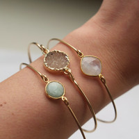 Bridesmaid Gift: Stackable Bangle Bracelets - Bangle Bracelet - Druzy Bangle - Gold Bangle Bracelet - Mint Green Bangle Bracelet