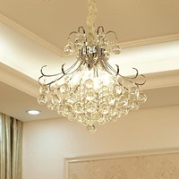 Modern 3 Lights Chrome Finish Crystal Chandeliers Flush Mounted Pendant Ceiling Light for Dining Room