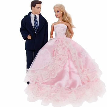 2 Sets = 1x Pink Princess Wedding Dress Lace Long Gown + 1x Black Prince Outfit  Clothes For Barbie Doll Friend Ken Accessories