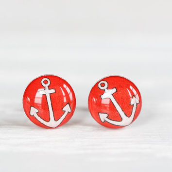 Anchor Post Earrings in Red - Hypoallergenic Studs