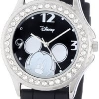 Disney Women's MK1094 Rhinestone-Accented Mickey Mouse Watch with Black Rubber Band