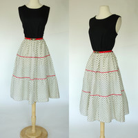 1980s polka dot dress w/ red piping, 80s does 50s rockabilly fit and flare tea length dress, color block red white black summer sun dress L