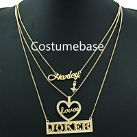 Suicide Squad Harley Quinn Loves The Joker 3 Tiered Necklace Pendant Lovers' Necklace Gift Accessories Weapons