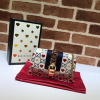 Kuyou Gb1986 Gucci 494646 Sylvie Gg Red Heart Leather Super Mini Bag 16*10.5*3.5cm