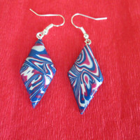 colorful summer earrings,polymer clay jewlery,polymer clay earrings,affordable earrings,blue,pink,navy blue,boho earrings,gift for her,hippi